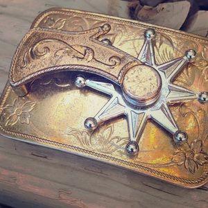 Vintage western cowboy spur belt buckle